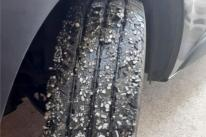 The heatwave caused tarmac to melt onto one driver's wheels
